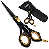 Saaqaans SQR-01 Professional Hairdressing Scissor - Perfect for Hair Salon/Barber/Hairdresser and Home use to Trim your Haircut/Beard/Moustache - Comes with Beautiful Black Pouch/Case