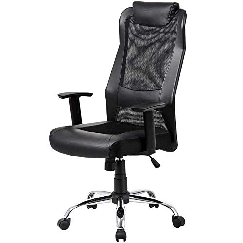 Mesh Office Chair High Back Padded Leather Headrest Design of Computer Desk Chair with Adjustable Armrest and Lumbar Support Color Black