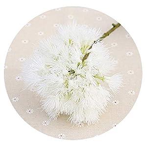1Pc Pompon Ball Artificial Flowers Dandelion Flowers Fake Plant Plastic Flower Bouquet for Wedding Garden Home Party Decoration,White 15