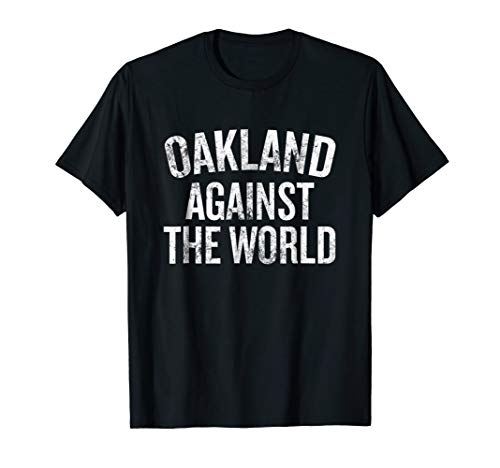 Oakland Against The World Distressed T-shirt Halloween Chris for $<!--$16.94-->