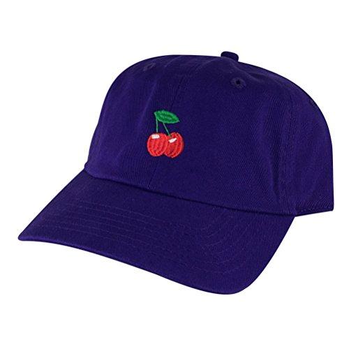 Cherry Unstructured Strapback Hat Cap by Caprobot - Purple R