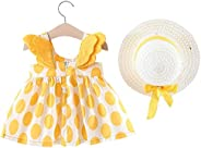 IFFEI Baby Girls Dress 3D Wings Polka Dot Cute Sleeveless Dress with Straw Hat for Toddler Girls