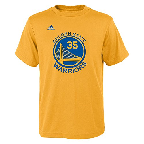Kevin Durant Youth Golden State Warriors Gold Name and Number Jersey T-shirt X-Large 18-20 -