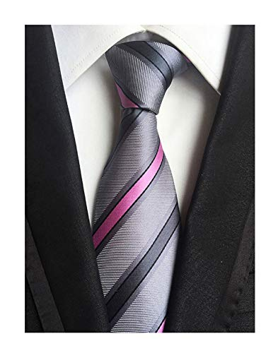 - Men Striped Pink and Grey Silk Ties Woven Neckties Creative Design Gift for Him