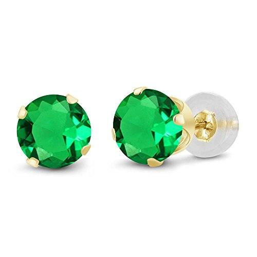 1.54 Ct Round 6mm Green Nano Emerald 14K Yellow Gold Stud Earrings