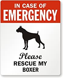 In Case Of Emergency, Please Rescue My Boxer, Adhesive Signs and Labels, 5 Labels / Pack, 4\