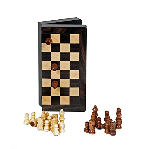 Travel Magnetic Folding Black Stained Wood Chess Set by WE Games