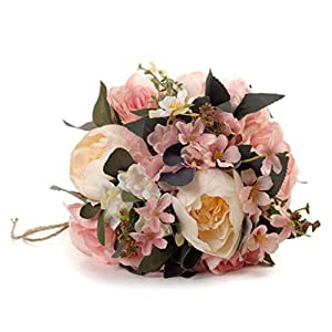 Maikouhai Holding Flowers, Colorful Bride Bridesmaid Wedding Bouquet Bridal Silk Fake Artificial Flowers Party Decor for Home Cafe Hotel Bedroom - Flannel & Plastic - 33x25cm 39