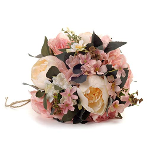 Maikouhai Holding Flowers, Colorful Bride Bridesmaid Wedding Bouquet Bridal Silk Fake Artificial Flowers Party Decor for Home Cafe Hotel Bedroom - Flannel & Plastic - 33x25cm