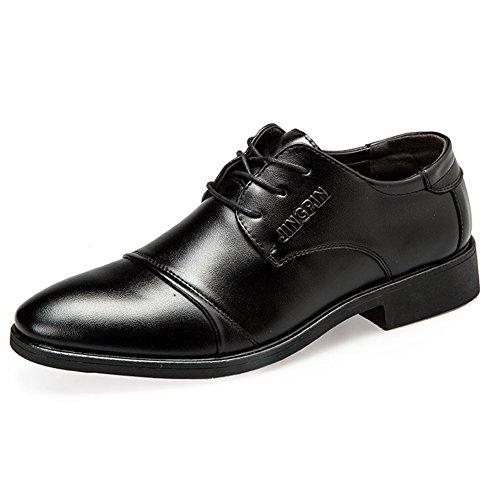 HUAN Chaussures Pour Hommes Style Nouveau Bureau et Carrière/Occasionnels en Cuir Verni Oxford Business Shoes Grande Taille Noir/Brun Black GlEIXW