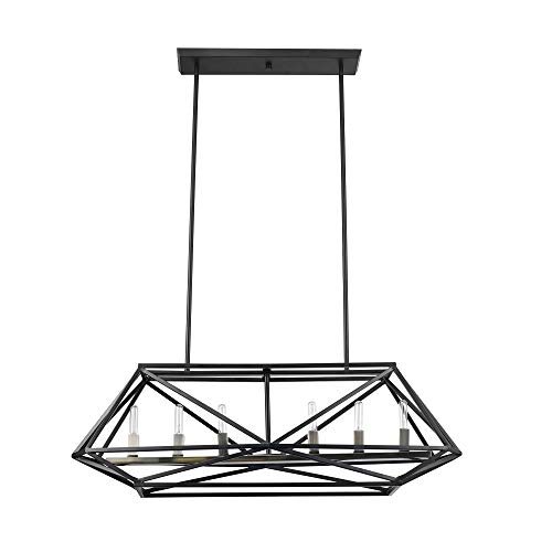 Globe Electric Sansa 6-Light Chandelier, Dark Bronze, Brass Sockets 60257