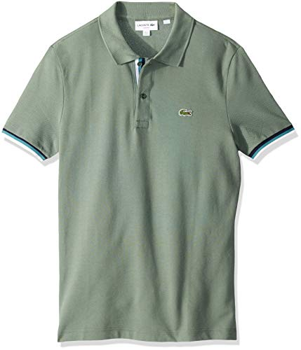 - Lacoste Men's S/S 2 PLY Pique Slim FIT Striped Bottom Sleeve Polo, Grassy, Small