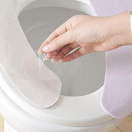 Benlasen 4 Pi/èces Si/èges De Toilette Coussin De Coussin De Si/ège De Toilette Adulte en Peluche Chaud Doux /Épais Portable Rond Allong/é Lavable Couverture R/éutilisable Bleu