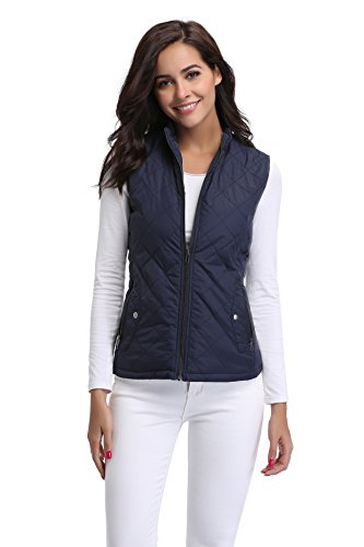 MISS MOLY Women Lightweight Quilted Padded Vest Stand Collar Zip Up Front Gilet Quilted,Blue,Large (Quilted Vest Women)