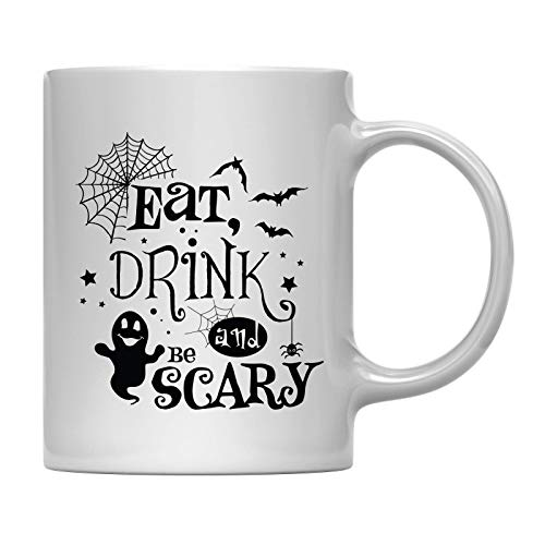 Andaz Press 11oz. Coffee Mug Gift, Eat Drink and be Scary Ghost, Halloween October Present Ideas with Gift Box ()
