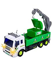 SODIAL Children's Remote Control Garbage Truck with Lights, 4WD Recycling Garbage Truck, Toys for Children 2-6 Years Old, Gifts for Boys and Girls
