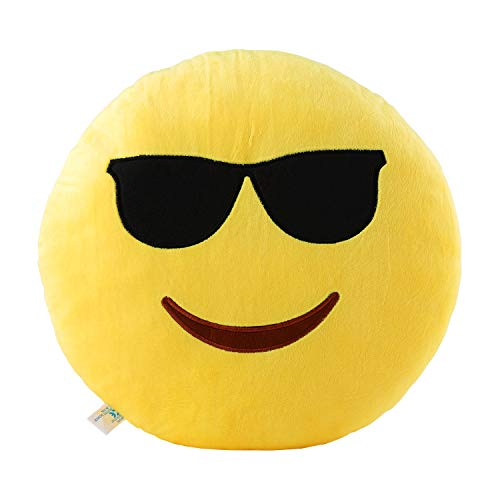 Cool Glasses Emoji Pillow 12.5 Inch Large Yellow Smiley Emoticon -