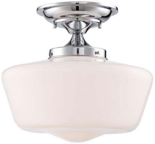 Chrome Semi Flush Ceiling Light (Schoolhouse Floating 12