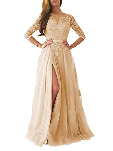 (Ruisha Women Lace Long Sleeves Prom Dresses 2018 Long Tulle High Slit Formal Evening Gowns RS0080 US 16 Champagne)
