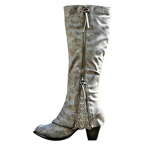 2017 Women Riding Boots Fold Over Design Near The Ankle With Lace Detailing At Edge  10 B M  Us  Grey
