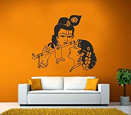 bf48f537aa Buy Decor Kafe 'Radha and Krishna' Wall Sticker (Vinyl, 59.99 cm x 51.99 cm  x 0.99 cm) Online at Low Prices in India - Amazon.in