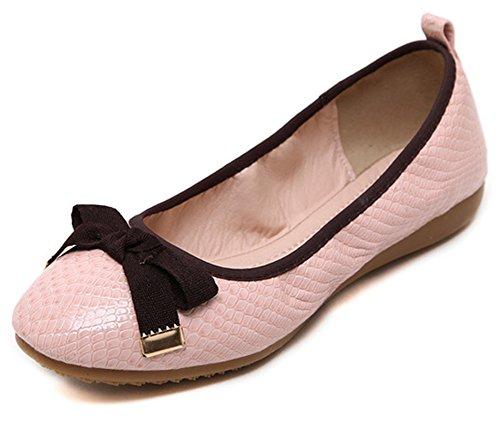 Shoes Toe Women's Flats Bow Aisun Slip Round Cute on Pink U8Idqdfx