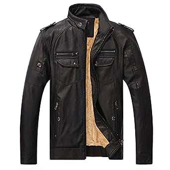Cyose Fashion Men Winter Thick Warm Style Leather Coats