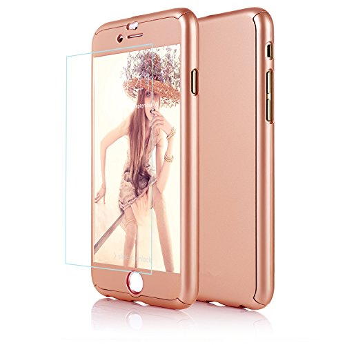 iPhone 6 Case, DecaStars [Ultra-thin Series] 2-in-1 Full-body Protective Back Cover [Slim Fit] with Tempered Glass Screen Protector for Apple iPhone 6 Case & iPhone 6s Case 4.7