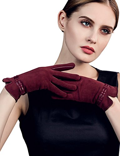 YISEVEN Women's Touchscreen Lambskin Suede Leather Gloves Slim Elegant Fleece Lined Luxury Stylish Hand Warm Heated Fur Lining Ladies Winter Accessories Dress Driving Work Xmas Gift, Wine Red (Lamb Suede)
