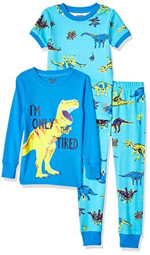 Amazon Brand - Spotted Zebra Little Kid 3-Piece Snug-Fit Cotton Pajama Set, Dinoland, X-Small (4-5) ()