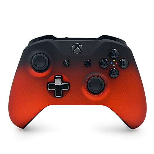 Oxide Red Shadow Custom Wireless Controller Compatible Xbox One Console - Textured Grip - 3.5mm Headset Jack - Chrome Steel Black D-pad - Grey on Black ABXY (Black 1s And Gray)