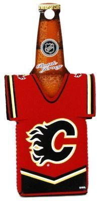 CALGARY FLAMES NHL BOTTLE JERSEY KOOZIE COOLER (Calgary Flames Jersey)