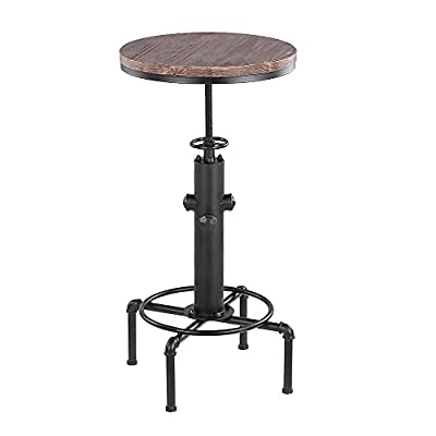 iKayaa Round Pub Bar Table Swivel Counter Height Adjustable Kitchen Dining Table Pinewood Top Industrial Style