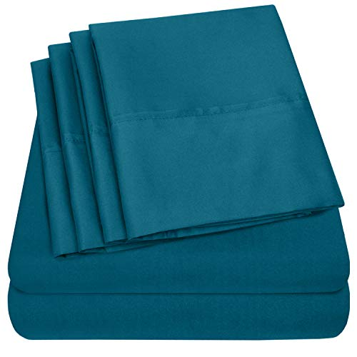 Queen Sheets Teal - 6 Piece 1500 Thread Count Fine Brushed Microfiber Deep Pocket Queen Sheet Set Bedding - 2 Extra Pillow Cases, Great Value, Queen, Teal (Sheet Teal)