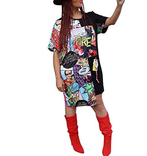 Remelon Womens Casual Short Sleeve Comics Letter Print Asymmetrical Loose Tunic T-Shirt Mini Dress Black S