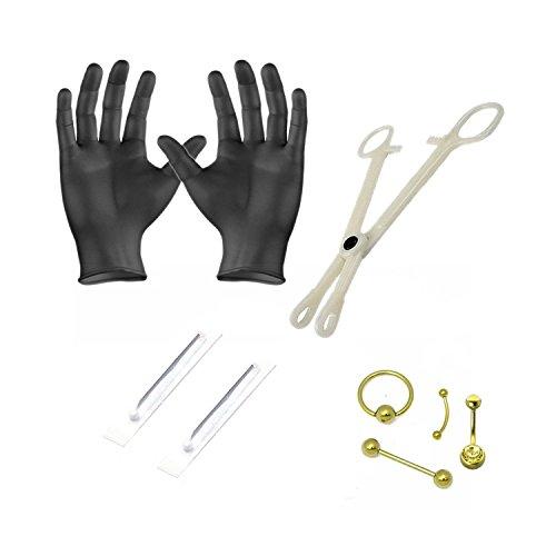 BodyJewelryOnline Body Piercing Kit Belly, Lip, Nose, Ear-14G & 16G Needles 8 Piece Titanium - PK019 ()