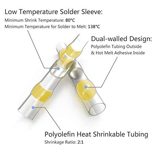 500PCS Solder Seal Wire Connectors - Sopoby Heat Shrink Solder Butt Connectors - Waterproof Solder Connectors - Electrical Wire Connectors Insulated Marine Automotive Terminal Kit by Sopoby (Image #2)