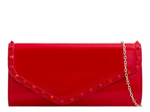Gris Large DIVA Rouge haute à femmes Sac main pour émaillé Txxq85B0