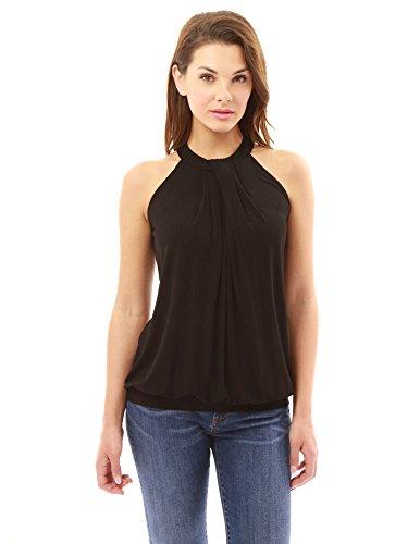 - PattyBoutik Women Halter Pleated Twist Blouson Top (Black Medium)