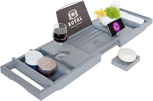 Royal Craft Wood Luxury Bamboo Bathtub Caddy Tray with Book and Wine Holder – One or Two Person Bath and Bed Tray with extending sides – FREE Soap Dish – (GRAY)