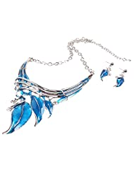 Qiyun Lake Blue Leaf Lariat Y-Necklace Chain Necklace Earrings Set
