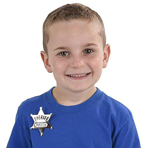 Kicko Metal Deputy Sheriff Badge - Pack of 12 Personalized Officer Name Tag Brooch for Kids - for Law Enforcement Officer Costume, Cowboy Western Parties, Stage Plays and Unique Party Bag Fillers ()