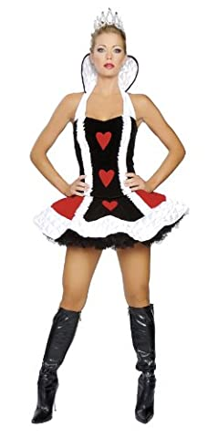 Roma Costume 3 Piece Sexy Queen Of Hearts Costume, Black/White/Red, Medium/Large - Black Queen Adult Costume