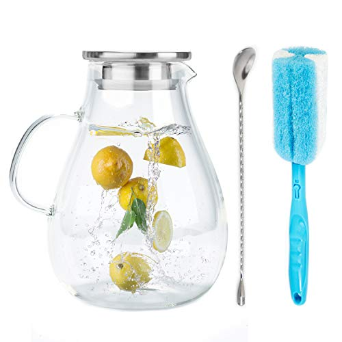 Smirly Glass Pitcher with Lid and Spout: Glass Water Pitcher with Lid, Iced Tea Pitcher for Fridge, Glass Pitcher with Handle and Lid, Glass Juice Pitcher, Glass Jug, Lemonade Pitcher, Glass Water Jug