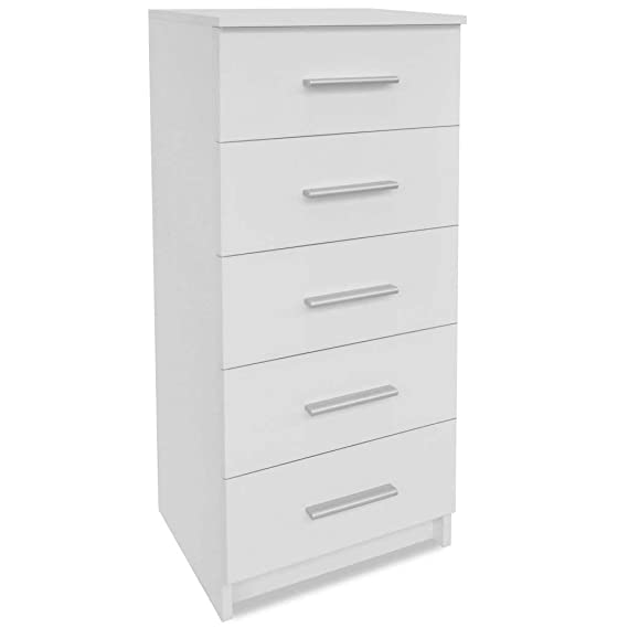 Festnight Wooden Bedroom Storage Tall Chest of Drawers Chipboard 41x35x108 cm White