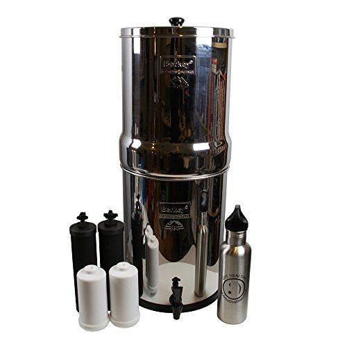 IMP6X2-BB Imperial Berkey with 2 Black Filters and 2 Flouride Filters bundled with Live Healthy Stainless Steel Wide Mouth Water (Millenium Wide Body)