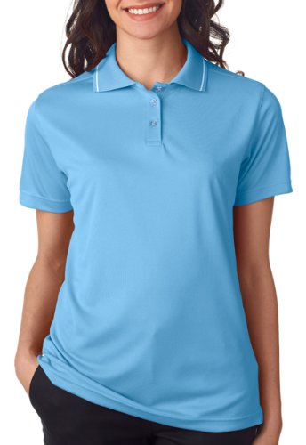 S/s Tipped Collar - UltraClub Ladies' Polo with Tipped Collar - Columbia Blue/ White - S