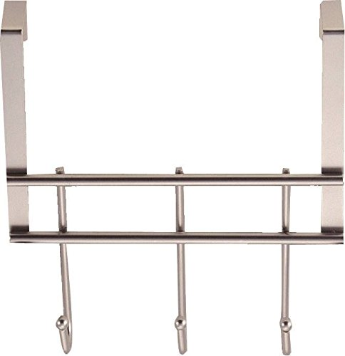 Rocky Mountain Goods Over The Door Hook Rack for Clothes - Bathroom Over Door Rack - Heavy Duty Modern Stainless Steel - Hanger for Towels - Fits Standard Doors (3 Hooks) by Rocky Mountain Goods