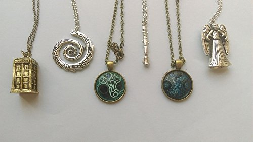 7pcs/set Inspired Charms Bracelet & Pendant Necklaces TARDIS Sonic Screwdriver -