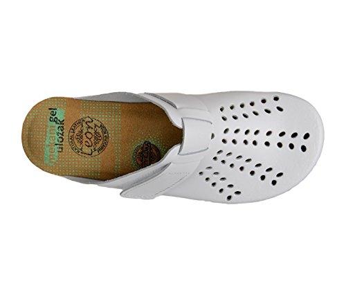 Femme Mules en Chaussons Sabots Chaussures Cuir PU161 Blanc Dames LEON WvgHw0XqFg